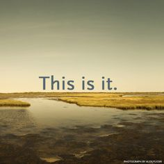 """There are so many ways to drop us into the present moment, into a state of accepting the reality of what is here and out of the state of avoidance.  Try bringing this simple phrase into your life and see what happens. Once in a while say to yourself, """"This is it!""""  - A Phrase to Change Your Day: Jon Kabat-Zinn   Mindful"""