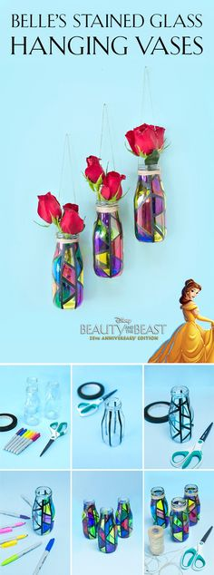 Create romantic home décor with hanging stained glass vases inspired by Disney's Beauty and the Beast. Create romantic home décor with hanging stained glass vases inspired by Disney's Beauty and the Beast. Kids Crafts, Cute Crafts, Diy And Crafts, Craft Projects, Arts And Crafts, Hanging Stained Glass, Fused Glass, Deco Disney, Disney Home Decor