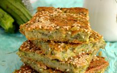 This cheesy Greek zucchini pie is delicious hot or cold.