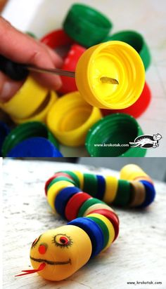 This cute little snake, made of recycled plastic bottle caps, would make a fun bird toy. Plastic Bottle Caps, Bottle Cap Crafts, Kids Crafts, Diy And Crafts, Creative Arts And Crafts, Creative Ideas, Recycled Crafts, Diy Toys, Diy For Kids