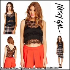 """❗️1-HOUR SALE❗️NASTY GAL Boho Crochet Crop Top RETAIL PRICE: $50 Boho CROP TOP Crochet Tank Eyelet Fringe Trim  * Scoop neck front  * Tank style w/wide straps  * Approx 21"""" long   * Frayed fringe eyelash hem  * Crochet detail & solid black insets; Subtle stretch-to-fit & semi-sheer fabric  Fabric: Cotton, nylon, & Spandex Color: Black Item: 93500 # semi backless cropped cold shoulder  🚫No Trades🚫 ✅ Offers Considered*/Bundle Discounts✅  *Please use the blue 'offer' button to submit an offer…"""