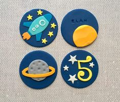 Thanks for looking! 12 Space Themed fondant cupcake toppers (Rocket, Saturn, Sun, and Stars) Perfect for playdates, birthday parties, and simply having fun! The toppers are handmade by me using delicious edible fondant. They have a long shelf life but dont put them into fridge or