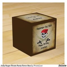 Jolly Roger Pirate Party Favor Box Pirate Party Favors, Pirate Party Invitations, Pirate Birthday, Happy Birthday, Birthday Parties, Pieces Of Eight, Jolly Roger, Favor Boxes, Party Hats