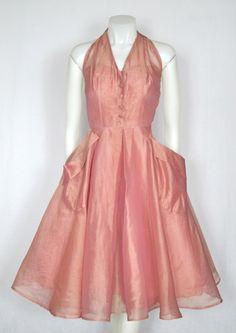 VINTAGE 1950s Rose Pink Organza Party Dress image 2
