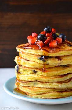 Mixed Berry Ricotta Pancakes Recipe on justataste.com
