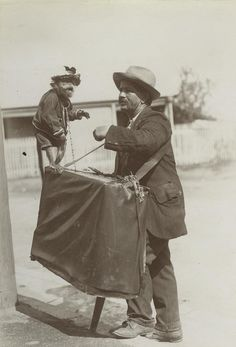 Barrel organ man and his pet monkey, Brisbane, 1908
