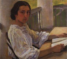 Portrait of E. Solntseva, sister of artist, 1914  Zinaida Serebriakova