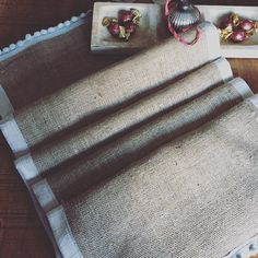 Have you thought about your Christmas dining table yet? Our handmade hessian table runner is edged with vintage silk and a Pom Pom trim; perfect for a rustic country look this festive season.