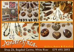 We sell a wide range of gifts, art and crafts.  What will you find in our shop: African Textiles, Kitenge fabric bags, Kuba fabric, table runners, table cloths, mats, shwe shwe cushions, local design, wood carving, bead work, pottery, African handmade jewelry, stone sculptures, soapstone sculptures, verdite, opal, paintings of local artists, gifts, handmade items, unique creations, wire art and much more