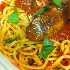 Spaghetti Rigati with hot sausage and meatballs