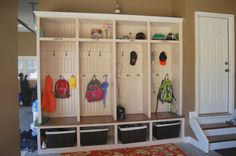 """Mud"" room IN the garage. We live in a small house No room for a ""mud room."" BUT we have an attached garage right off the kitchen. This would be perfect! I AM SO EXCITED! Sweet Home, Garage House, Diy Garage, Garage Storage, Garage Lockers, Shoe Storage, Coat Storage, Locker Storage, Mud Room In Garage"