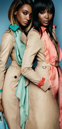 Trench coats and vibrant accessories in the Burberry Spring/Summer 2015 campaign, featuring Naomi Campbell and Jourdan Dunn Shot by Mario Testino