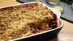 Paul Hollywood adds a twist to the traditional crumble topping with the addition of seeds, oats and shony, a sweet and salty powdered seaweed. Serve with custard, cream or ice cream.  Equipment and preparation: for this recipe you will need a 20x25cm/8x10in ovenproof dish.