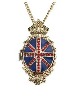 Vintage UK Flag Empire Open Necklace:Buy at Sheinside