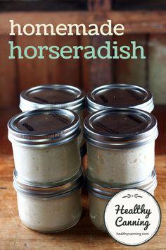Homemade horseradish Yield: 2 x quarter-litre US pint) jars Homemade Horseradish, Horseradish Recipes, Horseradish Sauce, How To Make Horseradish, Horseradish Pickles, Growing Horseradish, Home Canning Recipes, Canning Tips, Cooking Recipes