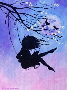 Beginner Learn to Paint Acrylic a wild haired girl swinging in front of a full moon from A Cherry Blossom Branch https://www.youtube.com/watch?v=TLWbcnu6KSI