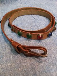 Vintage 1950s Leather Belt Multi Colored Jeweled Studded Cowboy Skinny W 28 20150717J109 - pinned by pin4etsy.com