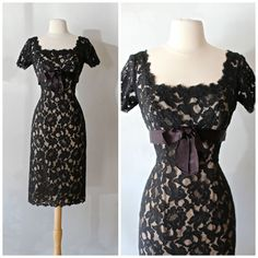 Vintage 1960s Black Illusion Lace Cocktail Dress ~ Vintage 60s Nude Illusion Dress Size 8