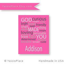Baby Girl Nursery Pink nursery decor Kids Wall Art by YassisPlace