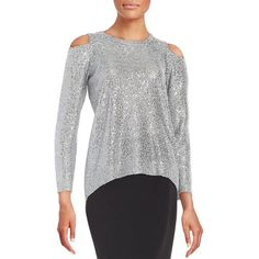Dknyc Sequined Cold-Shoulder Sweater ($47) ❤ liked on Polyvore featuring tops, sweaters, shimmer, cold shoulder tops, cut out shoulder sweater, dknyc tops, cut shoulder top and sequin top