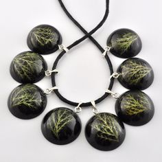 Hemisphere necklace with natural plant in resin fern by PikLus, $15.00