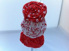 Red  Rolled Fabric Flower Headband by Lilica on Etsy, $9.50