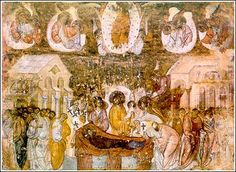 The Dormition of the Virgin, a fresco at Sopocani, about 1260