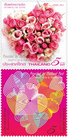 Symbol of Love postage stamps from Thailand