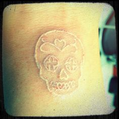 White sugar skull tattoo. Again with this white ink. In lovee❤