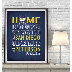 san diego chargers inspired art print customized and personalized unframed home is wherever im
