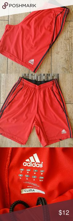 "👟RED AND BLACK ADIDAS SHORTS👟 💣Red with black stripes down sides 💣Climalite Tech fit 💣Inseam 8.5"" 💣Elastic waist with drawstring 💣Minor pilling ONLY AT SIDE POCKETS 💣No rips, pulls or stains 💣Smoke free home  💣Red is like Valentine red💣 Adidas Shorts Athletic"