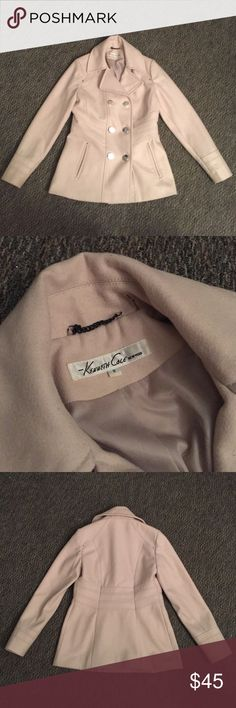 Peacoat Jacket - Kenneth Cole I've outgrown this Kenneth Cole Peacoat Jacket in a cream/tan color. It is a size 8, fits like a true medium. This jacket is in perfect condition and has been worn only a handful of times over the winter months.  ######     Pea coat trench coat jacket Kenneth Cole Jackets & Coats Pea Coats