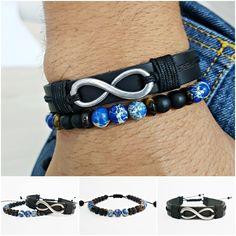 Kit 2 Pulseiras Masculinas Couro Infinito Pedra Jaspe Azul mens bracelets fashiopn style cocar brasil
