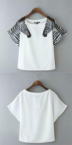 Fashion Zebra Print Short Sleeve Round Neck T-shirt