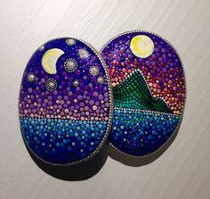 Dot Art Night Sky Painted stone painted rock by CreateAndCherish
