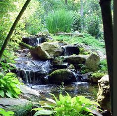 A Healing Garden I was able to create for mom! Natural woodlands waterfall.