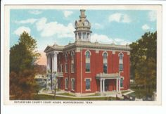 Sell one like this    Rutherford County Court House Murfreesboro Tennessee TN Old Postcard Vintage