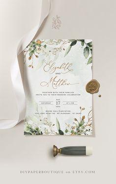 Wedding Invitation Wording Examples, Wedding Invitation Trends, Wedding Invitation Card Template, Save The Date Invitations, Gold Wedding Invitations, Diy Invitations, Wedding Stationery, Wedding Cards, Invitation Suite