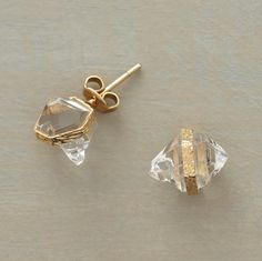 Empire State Earrings  Known as Herkimer diamonds after the New York state mine from which they hail, these double-ended quartz crystals are a dazzling rarity. Artist Pade Vavra harnesses each in 18kt gold. Handmade in USA.