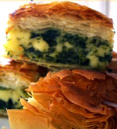 spinach and feta with dill and spring onions pie