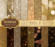 Gold Bokeh Digital Paper Gold Glitter by OriginsDigitalCurio