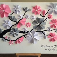 guest book tree signature tree prints for 130 to 150 Tissue Paper Decorations, Paper Flower Decor, Tissue Paper Flowers, Flower Crafts, Diy Paper, Paper Crafts, Diy Crafts, Handmade Birthday Cards, Greeting Cards Handmade