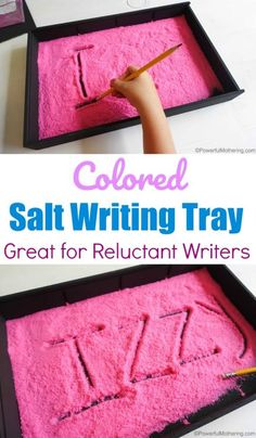 Colored Salt Writing Tray For Reluctant Writers Get them involved in their writing skills while having fun. Writing Activities For Preschoolers, Handwriting Activities, Preschool Writing, Preschool At Home, Alphabet Activities, Preschool Learning, Toddler Preschool, Fun Learning, Fine Motor