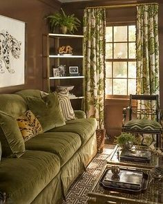 Gorgeous living room in shades of green and brown with lots of layers of texture and pattern in this home overlooking the Long Island Sound in Center Island, NY by prep-chic queen Meg Braff. Living Room Designs, Living Room Decor, Living Spaces, Dining Room, Style At Home, Estilo Colonial, Green Velvet Sofa, French Country Living Room, English Living Rooms