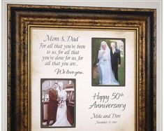 Anniversary Gift for Parents Golden Anniversary, Handmade Anniversary Gifts from PhotoFrameOriginals Custom Photo Mats - Anniversary Gift 50 Anniversary Gifts Parents Anniversary Handmade Anniversary Gifts, Golden Anniversary Gifts, Anniversary Gifts For Parents, Marriage Anniversary, Birthday Gifts For Sister, 50th Wedding Anniversary, Anniversary Ideas, Thank You Gift For Parents, Wedding Gifts For Parents