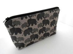 Padded Large Zipper Pouch Flat Bottom ECO Friendly Cosmetic Bag NEW Elephant Love by JPATPURSES, $18.00