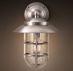 For garage/front door lighting - Starboard Sconce With Shade Antique Nickel
