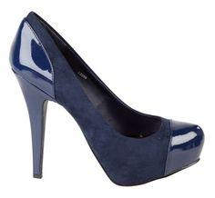 Anne Michelle Ladies Blue high heel hidden platform fashion court shoe