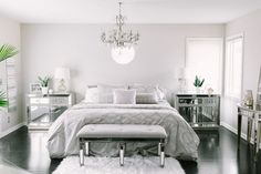 Grey on grey, mirror glamour and elegance | Champagne + Macaroons - House feature with Inspired by This