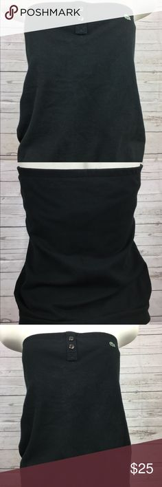 Black Lacoste Halter Top Size 42 (US Size 10) Cute, preppy Lacoste halter top Lacoste size 42 (US 10) Black with 2 buttons at top Made of cotton and elastane Easy to care for ~ machine washable  In great condition with no rips or stains to this preowned top Lacoste Tops Tank Tops